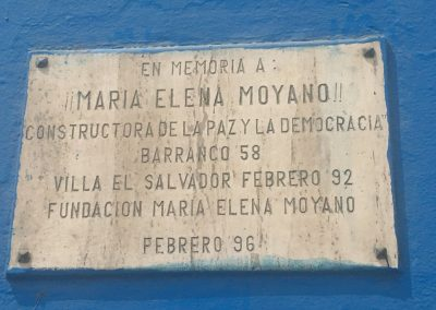 Maria Elena Moyano, Villa El Salvador, offical plaque