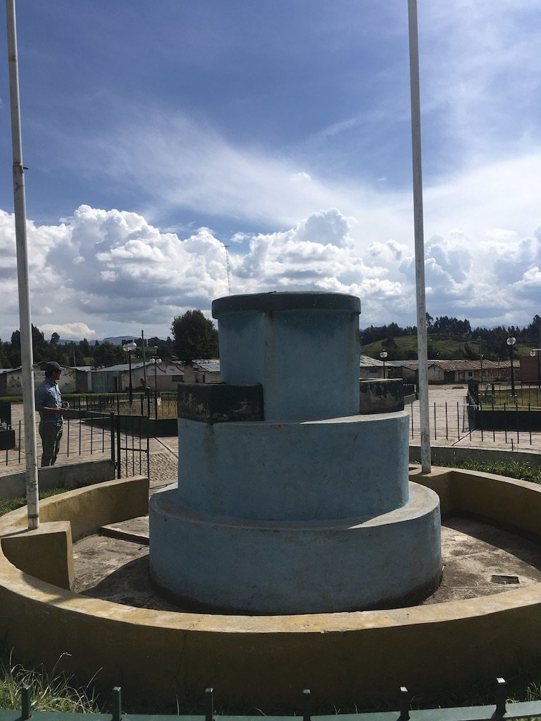 Pedestal for a removed peace sculpture, Putacca, Vinchos, Ayacucho